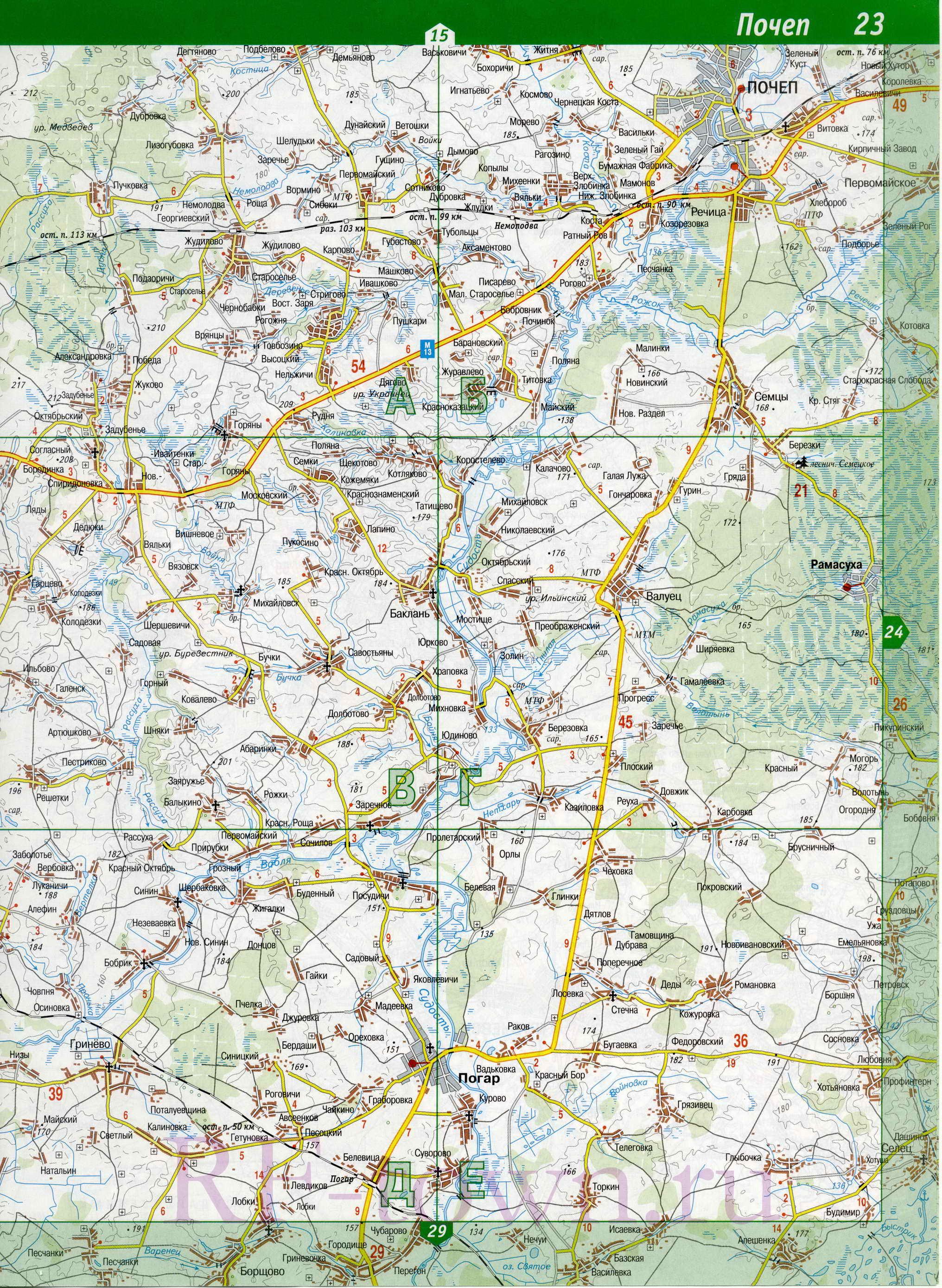 Карта погарского р на брянской обл a0