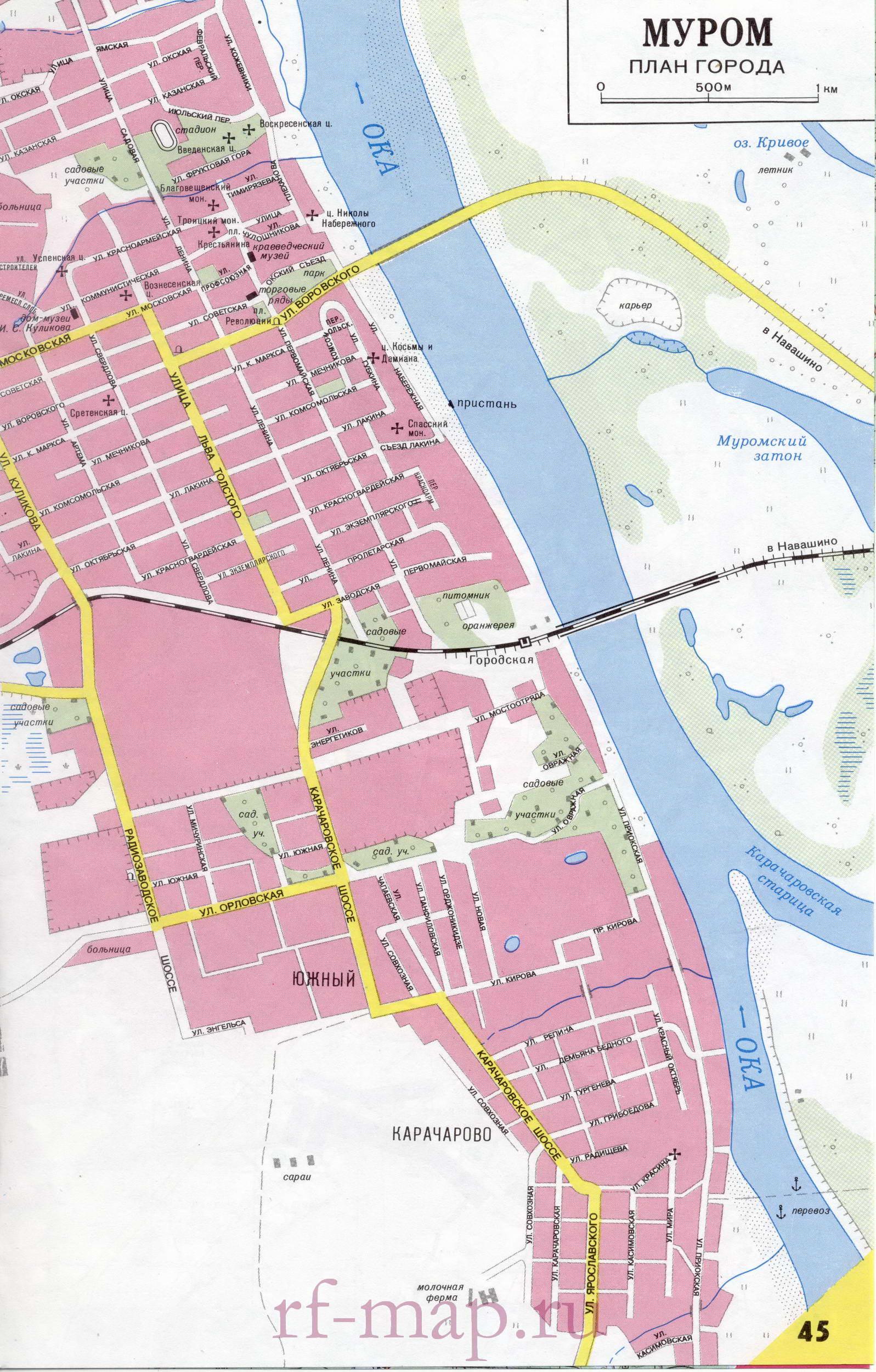 Муром карта города.  Подробная карта Мурома с названиями улиц и схемой проезда грузового транспорта.