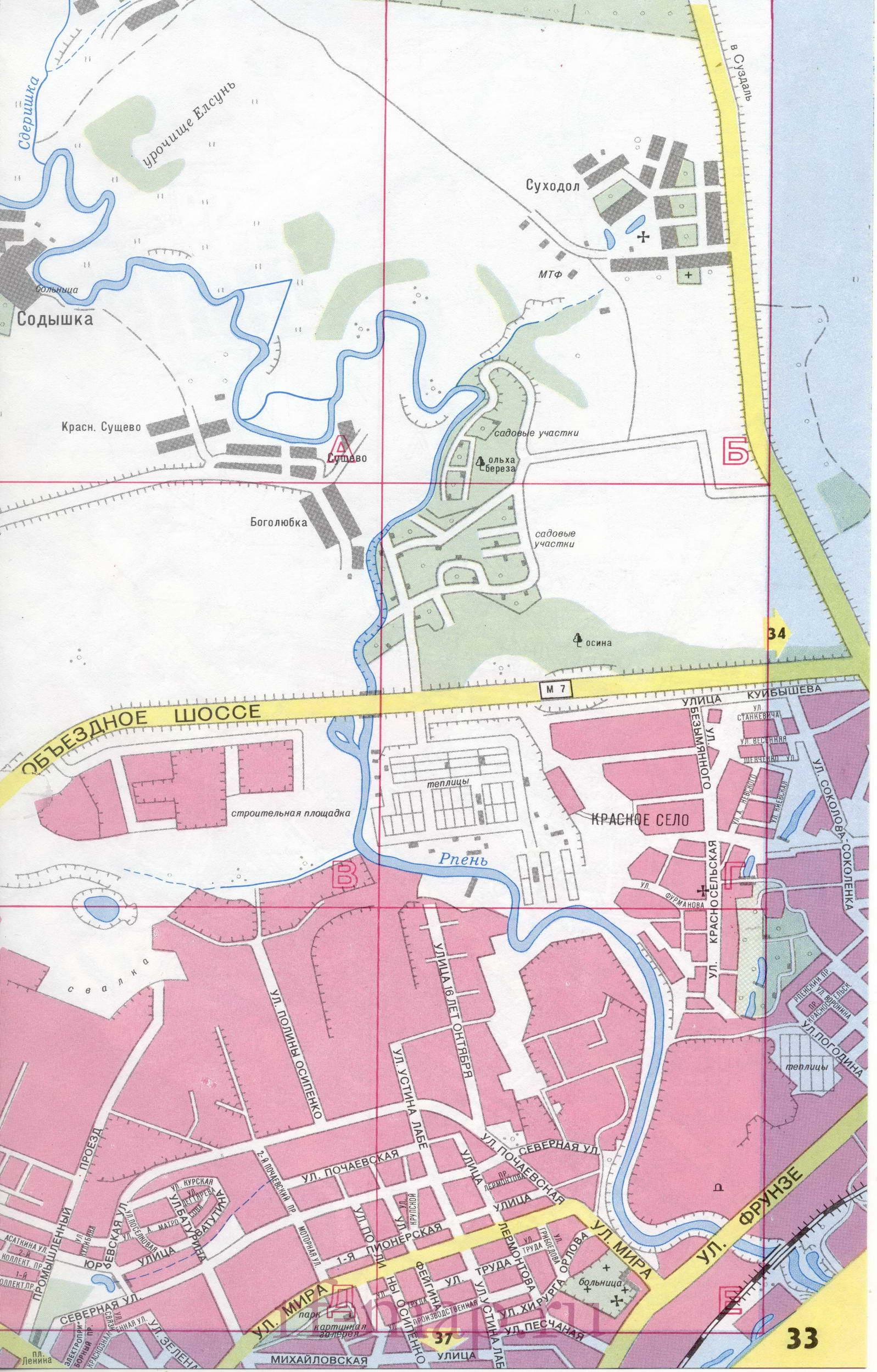 Детальная карта улиц города Владимир масштаба 1см:250м.