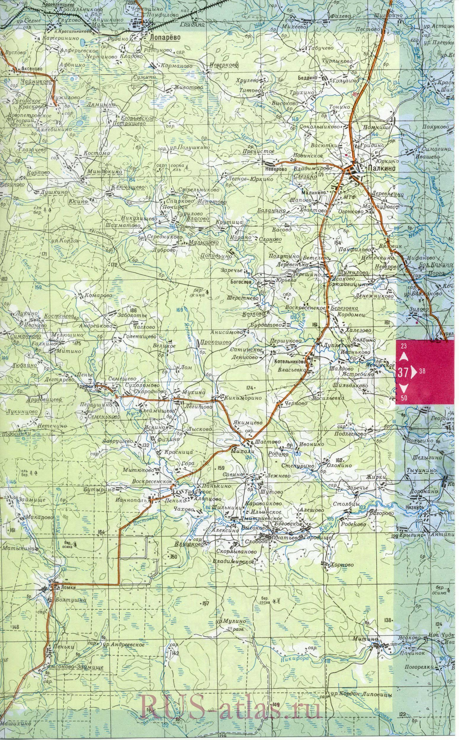Галичский уезд карта части костромской губернии с чухломским уездом 1821 года