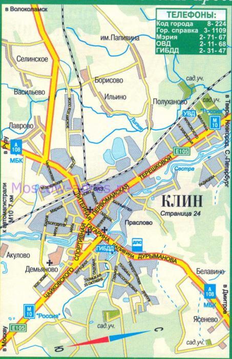 Карта Клина. Автомобильная