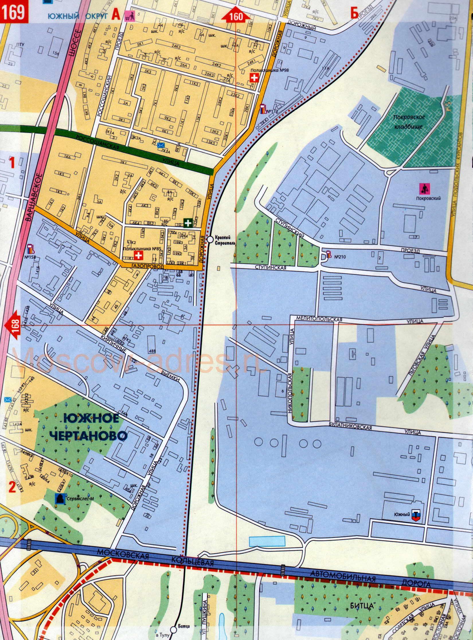 Карта улиц московского района Бирюлево Восточное ЮАО, Бирюлево