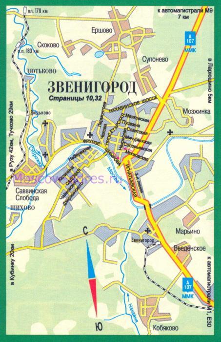 Карта Звенигорода. Авто карта
