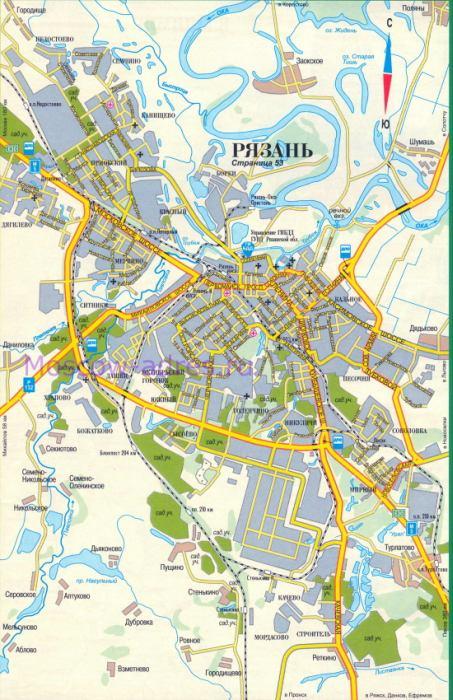 карта города Рязань,
