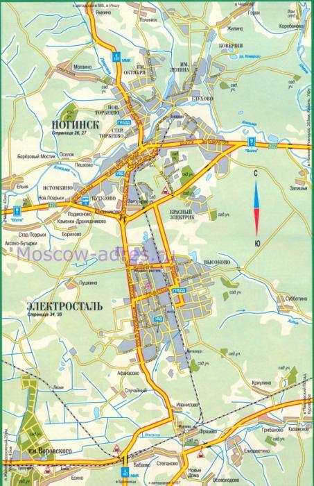 Карта Ногинска, карта-схема