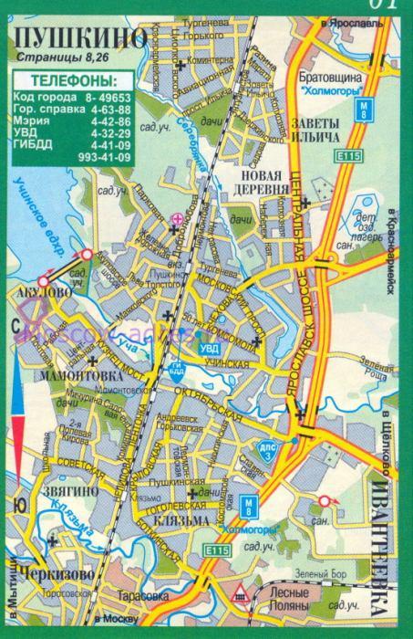 Карта Пушкино. Карта-схема