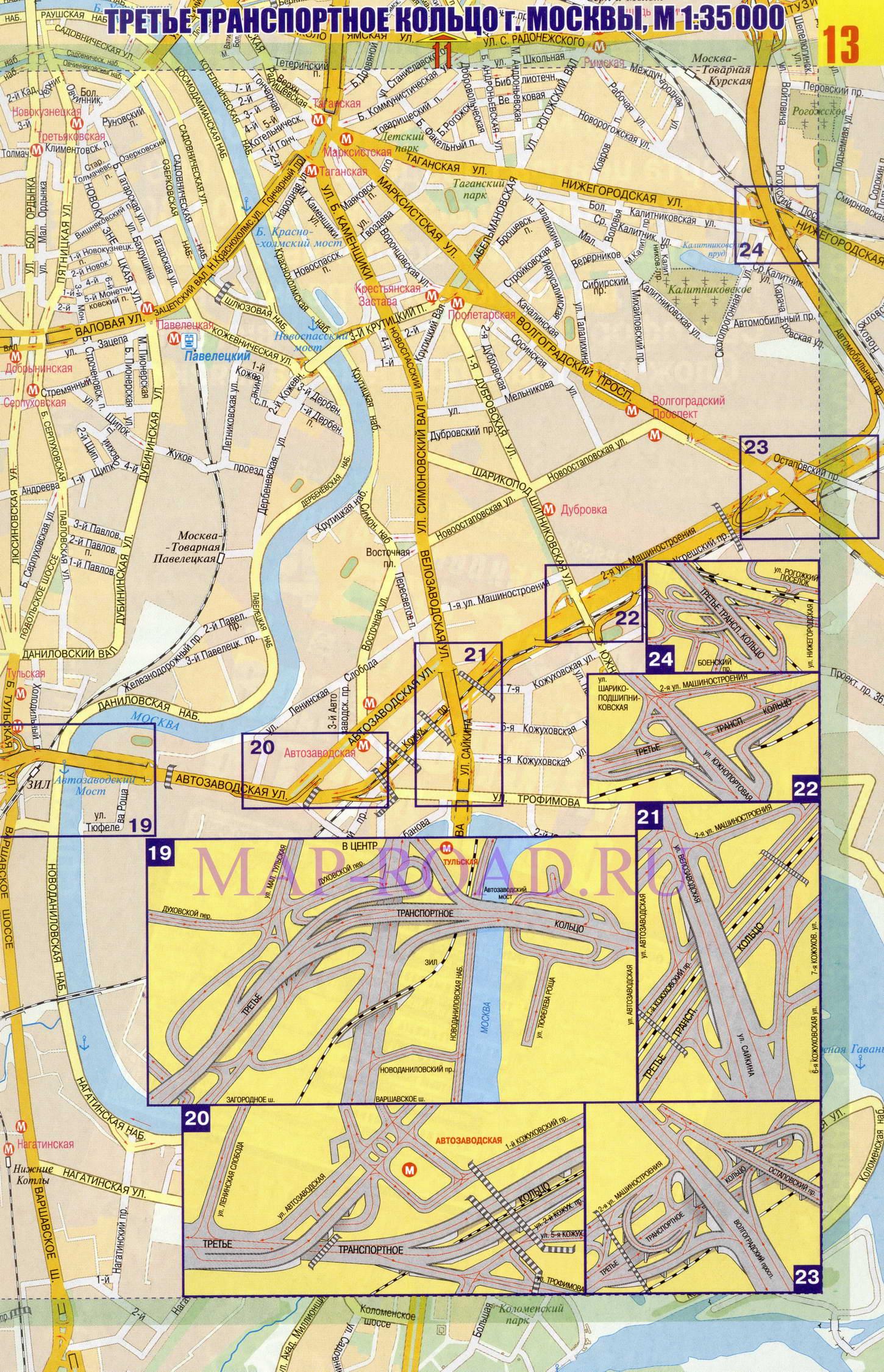 Автомобильная карта Москвы с развязками на третьем транспортном кольце.