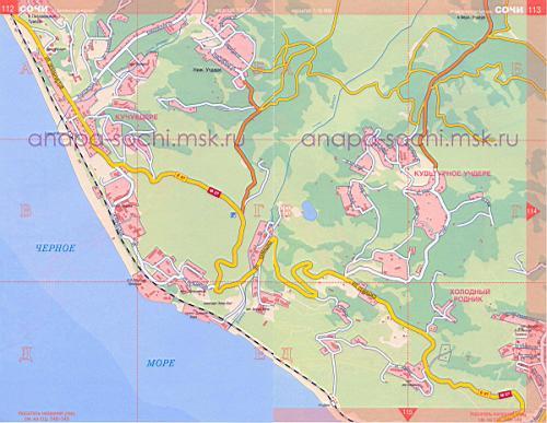 Карта сочи карта побережья сочи.