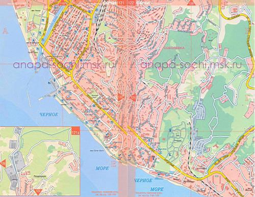 Карта сочи карта побережья сочи