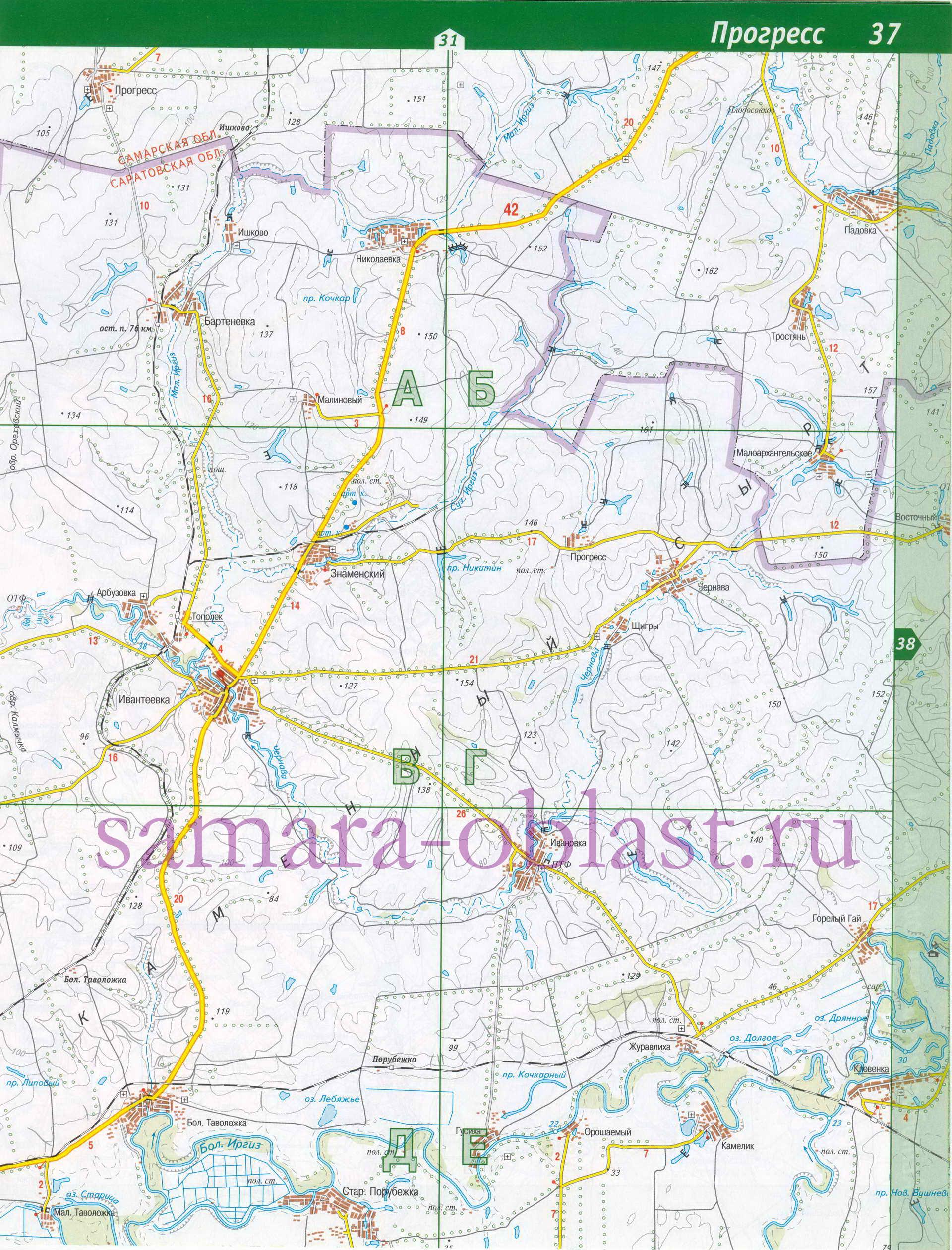 Карта Пестравского района.  Схема автомобильных дорог - Пестравский район.