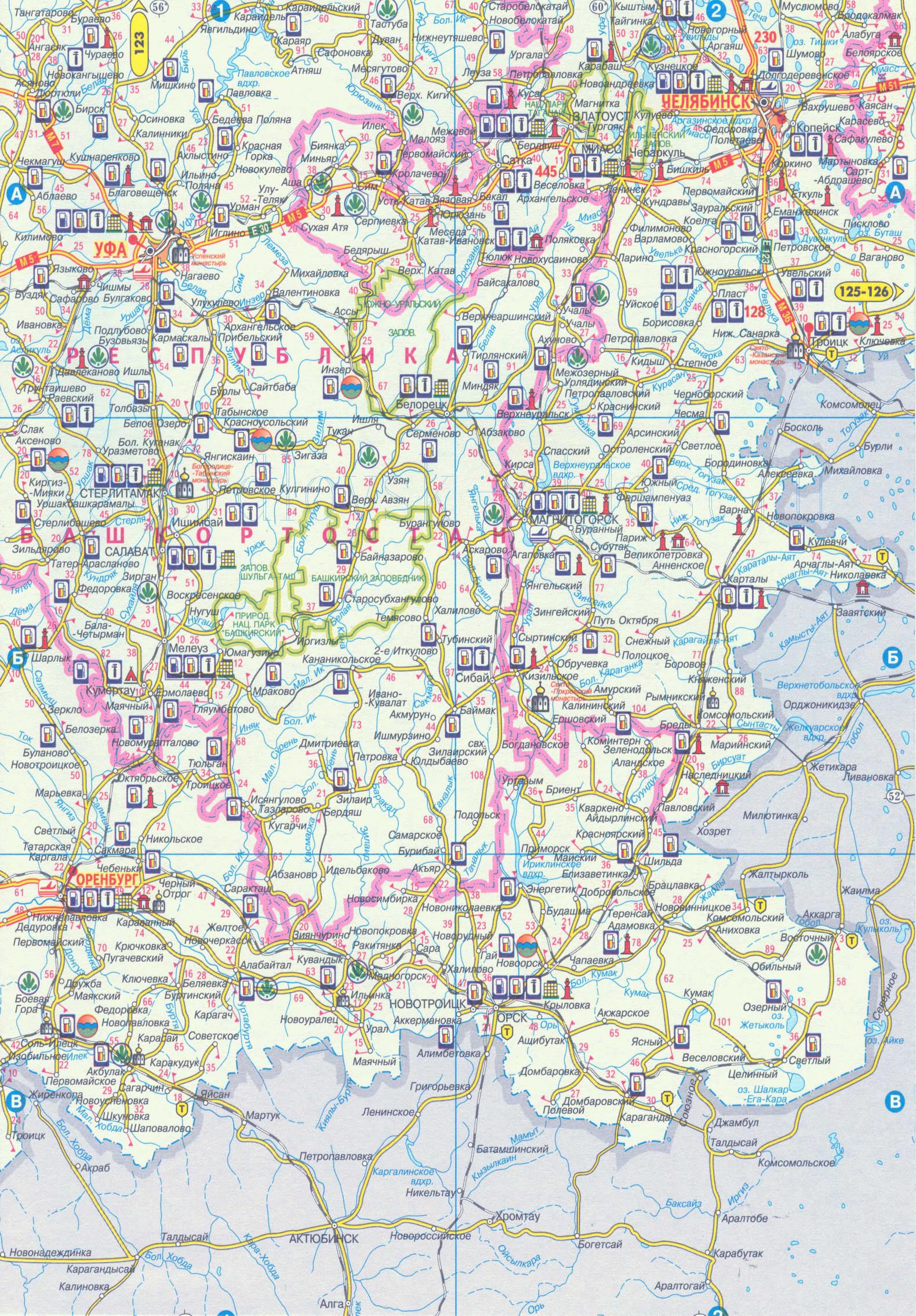 Южный урал карта дорог южного урала a1
