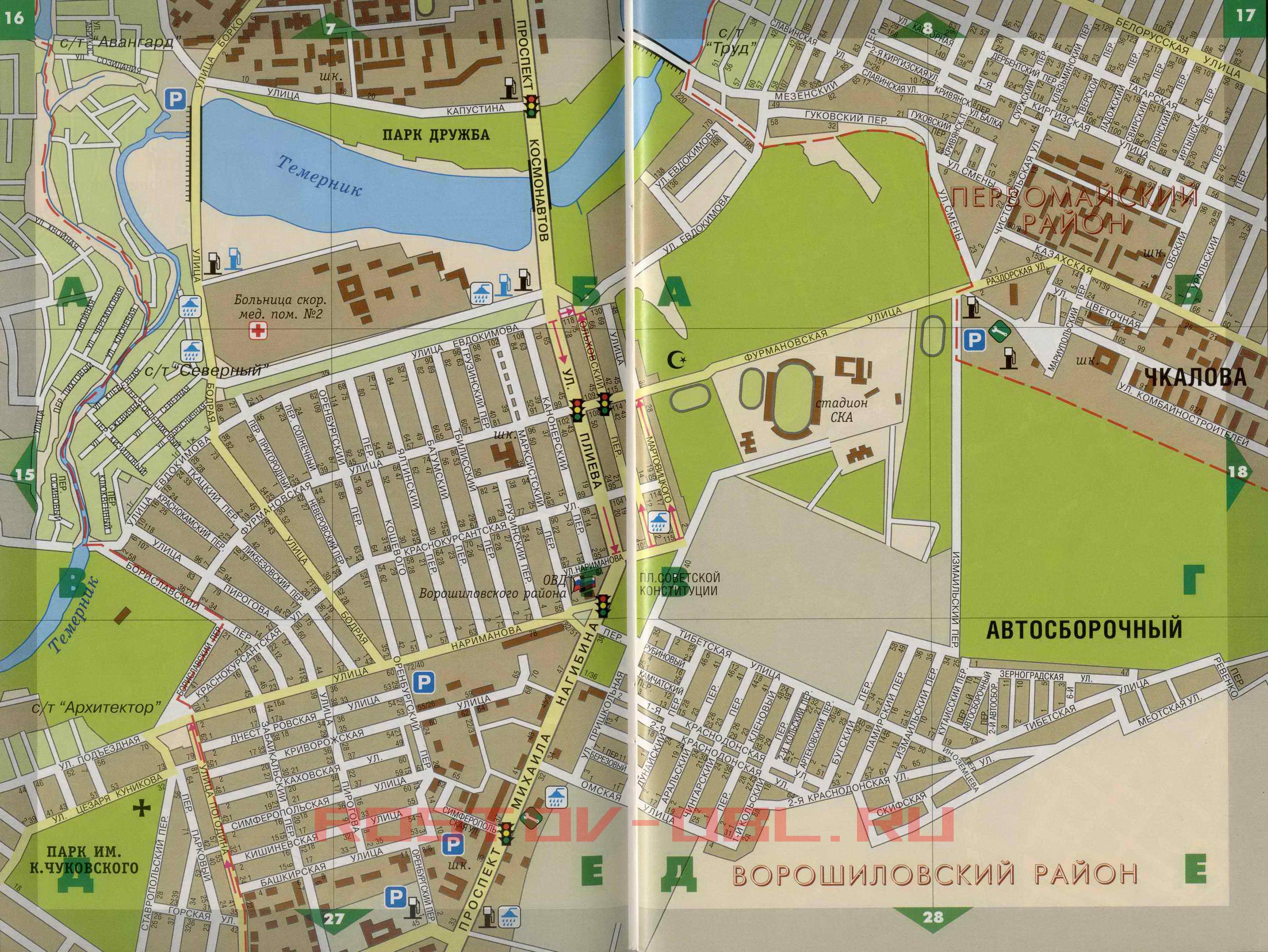 Карта Ростова-на-Дону Ворошиловский район.