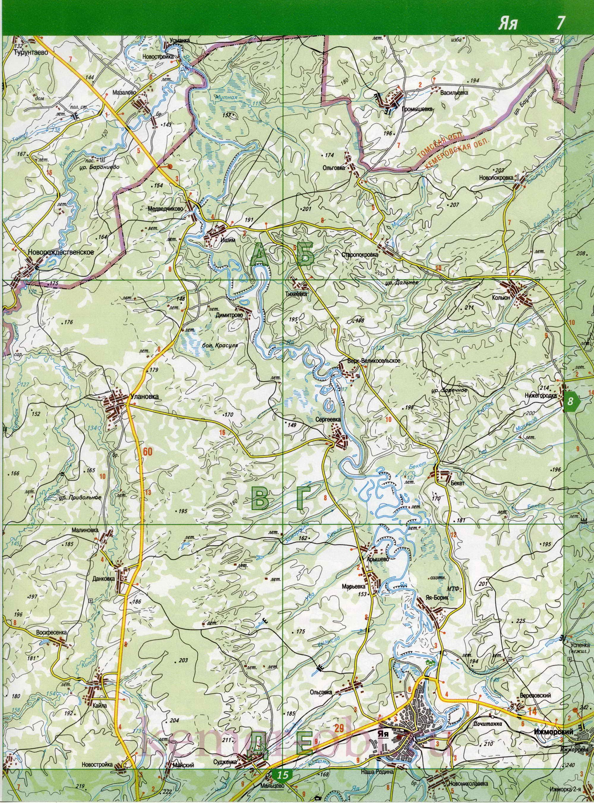 Яйский район.  Карта Яйского района Кемеровской области.