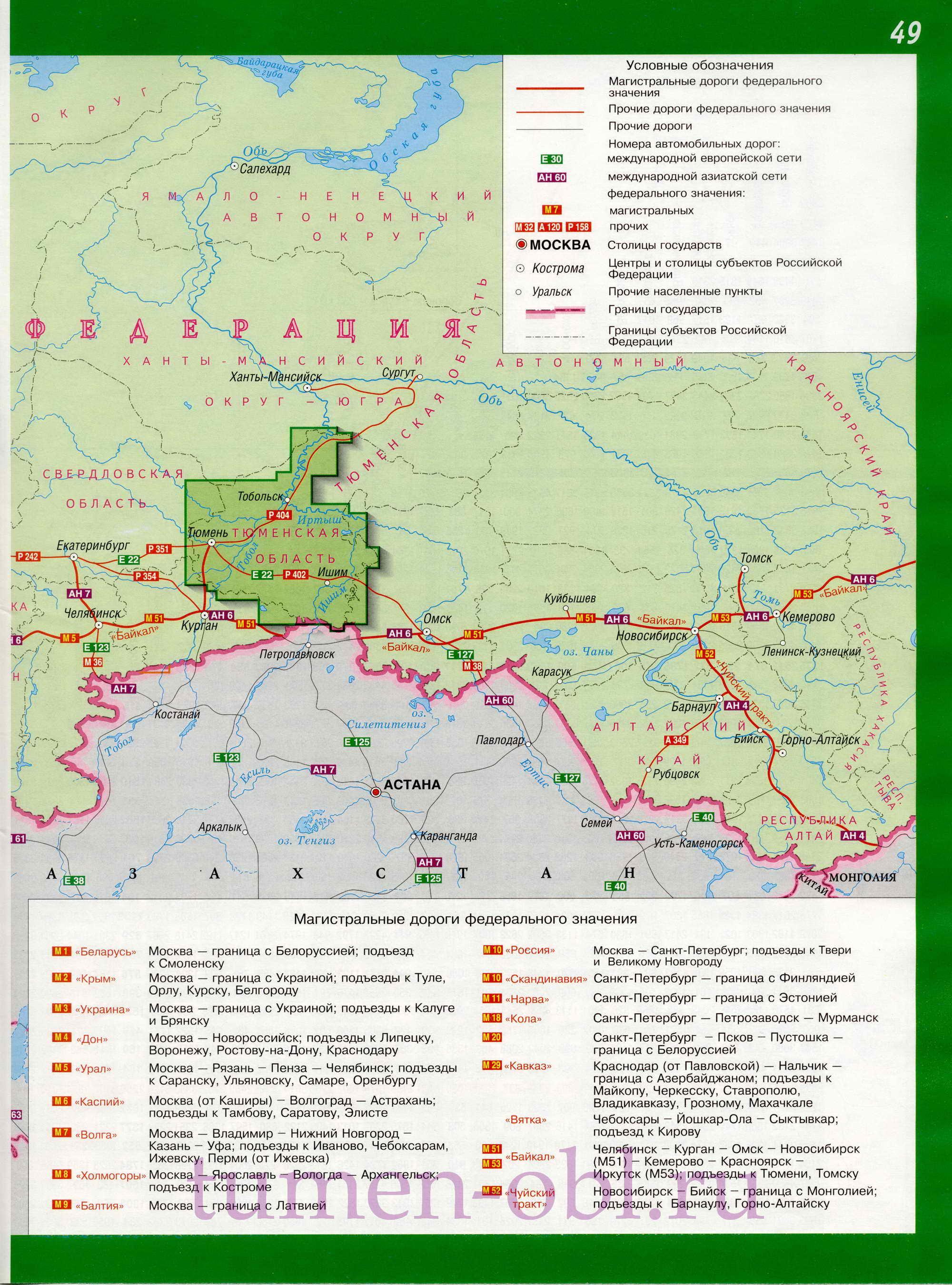Карта схема важнейших автодорог России.