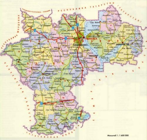 Ульяновская область карта
