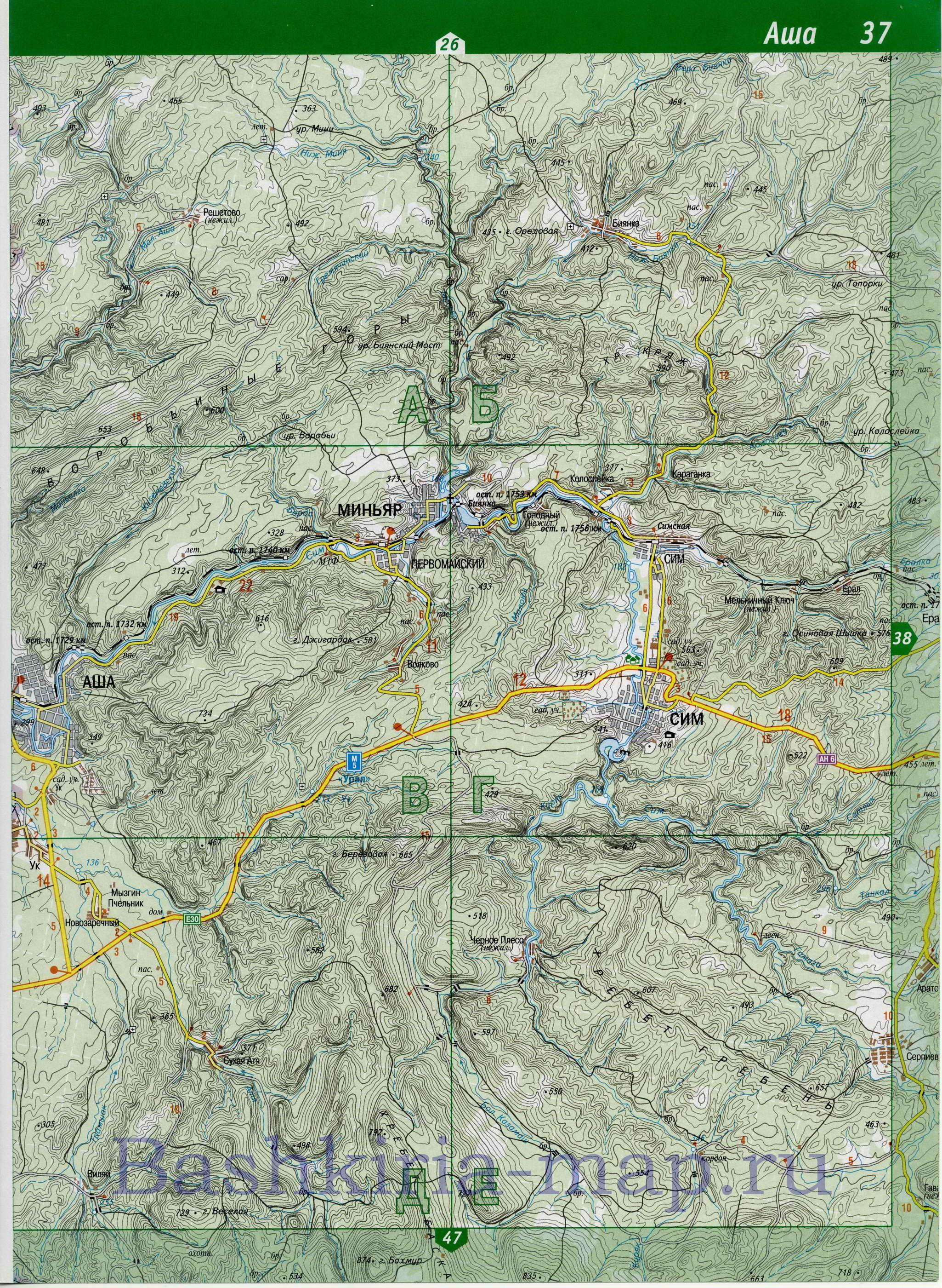 Географическая Карта Башкортостана